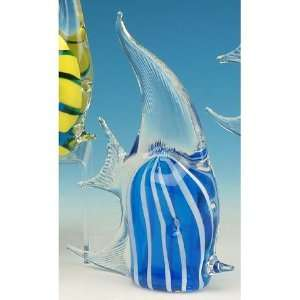 With White Stripes Crystal Glass Angel Fish Figurine