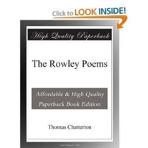 The Rowley Poems: Thomas Chatterton: Books
