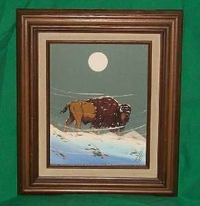 AMERICAN INDIAN ART OIL PAINTING BUFFALO BISON WINTER SNOW STORM