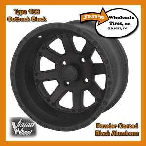 12 12x8 4x4 Black Aluminum Golf Cart Rims Wheel