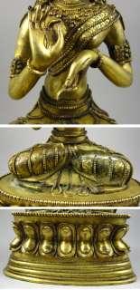 Old Tibetan 24k Gilt Bronze White Tara Buddha Statue