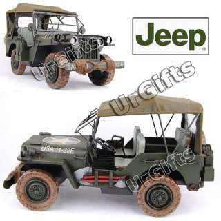 Made Metal Art Bar Decor 116 Military Model WWII Willys Jeep