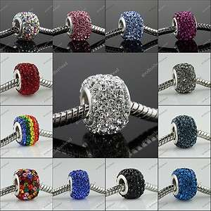 CZECH CRYSTAL 925 STERLING SILVER FINDINGS SQUARE EUROPEAN CHARM BEAD