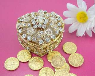 HEART Crystal Gold Wedding Coin Trinket Box Set ARRAS