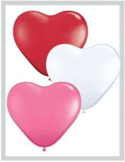 Red, White & Pink Heart Shaped 6 Latex Balloons x 100