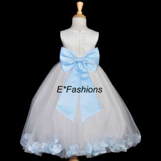 WHITE SKY LIGHT BLUE FLOWER GIRL DRESS 18M 2 4 6 8 9 10