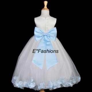 WHITE SKY LIGHT BLUE FLOWER GIRL DRESS 18M 2 4 6 8 9 10