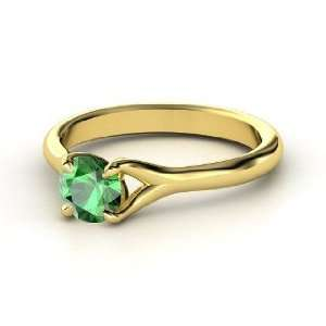 Cynthia Ring, Round Emerald 14K Yellow Gold Ring Jewelry