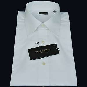 VALENTINO SOLID WHITE MENS DRESS SHIRT ITALIAN COLLAR CLASSIC FIT NEW