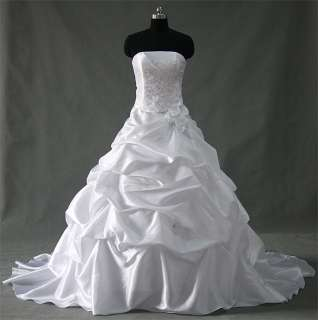 Taffeta White A Line Strapless Beaded Lace up Wedding Dress/Prom Gown