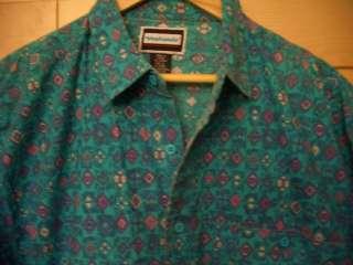 Vintage 80s Mens Geometric Teal Green Purple 100% Cotton Shirt L