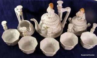 Whimsical Art Deco Tea Set Figural Crinoline Lady & Gentleman Half