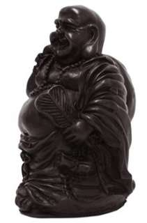 The black colour resin, laughing Buddha statue carved into a smiling
