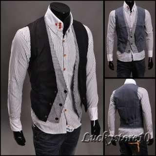Mens Premium Layered Style Slim Vest Waist Coat