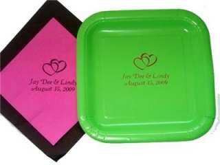 Personalized Wedding Bridal Shower Cake Plates Napkins