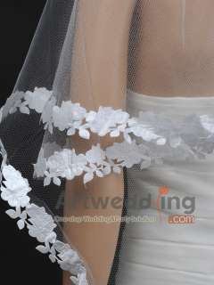 1T 62 White Tulle Elbow Wedding Bridal Veil Headpieces with Floral