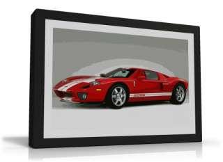 RED FORD GT CAR MODERN CANVAS PRINT ART SUPERCAR RACING