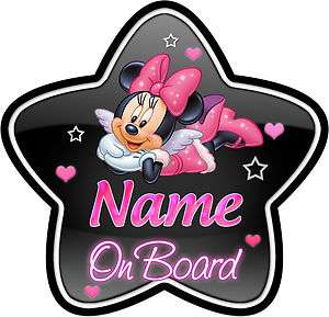 Minnie Mouse Star Shaped Child/Baby on Board Car Sign New  BL/PINK