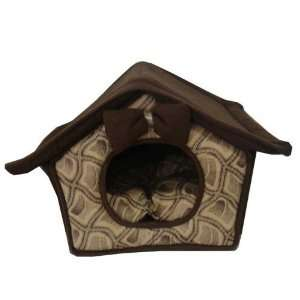 Best Pet Dog House Bed Brown Roof with Chain Link Suede