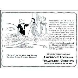 1951 Vintage Ad American Express Travelers Cheques