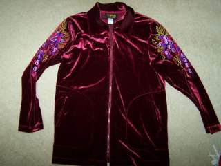 Bob Mackie Wearable Art Velvet Zipper Jacket Big Shirt