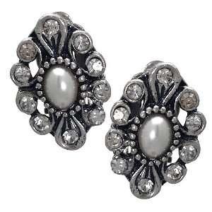 Amalia Silver Pearl Crystal Clip On Earrings Jewelry