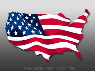 USA Shaped Waving American Flag Sticker   Decal us