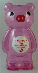 BIG LARGE CLEAR PLASTIC PINK PIG CHILDRENS KIDS COIN PIGGY BANKS
