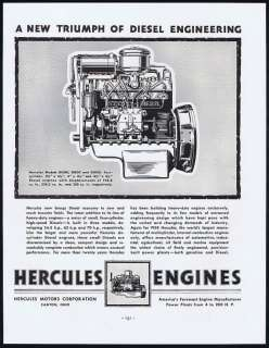 1938 Hercules Diesel Gas Engines Motors Corporation Ad