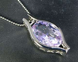 Jewelry Lady Gift 2cm Purple Tanzanite White Gold GP Pendant Necklace