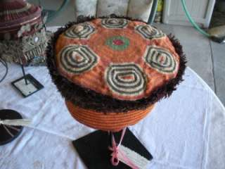 Antique African Cameroon hat , wool, weaving, feathers on heavy metal