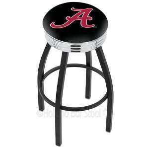 Alabama Crimson Tide A Logo Black Wrinkle Swivel Bar Stool with Chrome