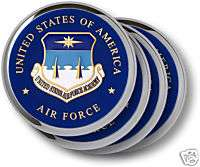 AIR FORCE ACADEMY CHALLENGE COIN WALNUT COASTER SET