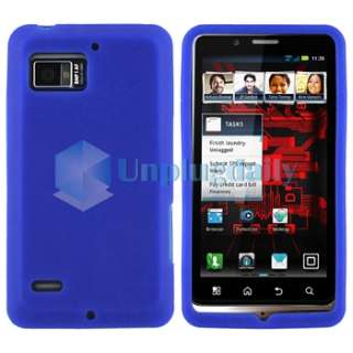 Blue Gel Case Cover+Privacy Film+Car+AC Charger For Motorola Droid