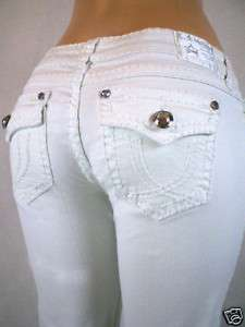 LA Idol Bootcut Stretch Jeans White Bold Stitching.0 15