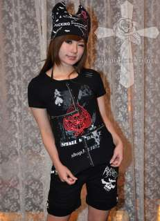 Casual Visual Kei Punk Rockabilly SKULL Gothic Emo Black Chained