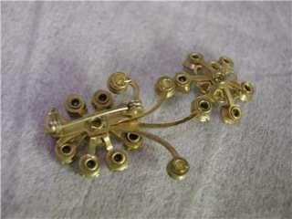 Aurora Borealis Rhinestone & Pearl Gold Brooch Pin