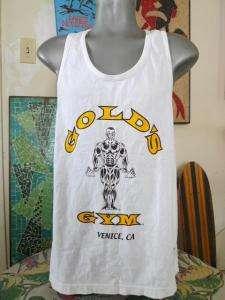 GOLDS GYM Tank Top Bodybuilding Jock T Shirt Large Venice Beach
