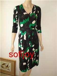 NWT Diane von Furstenberg sz 12 VIKTORIA silk dress green/white/black