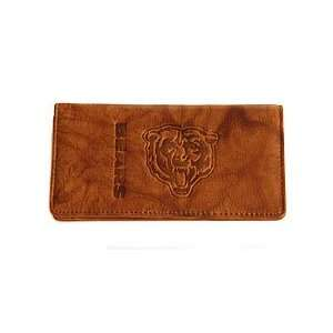 Chicago Bears Brown Leather Checkbook Cover with Embossed