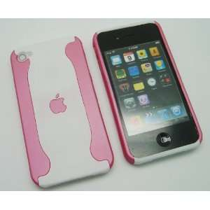 iPhone 4 4G 4S Dual 2 Tone Pink / White Hard Back Case Cover + Free