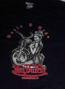 Designer VON DUTCH Motorcycle BORN 2 RIDE Black Shirt
