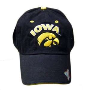 IOWA HAWKEYES LOGO COTTON BLACK CAP HAT ADJ NEW: Sports & Outdoors