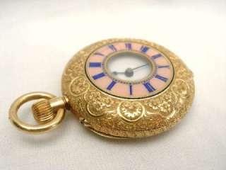 Vacheron & Constantin 18k Gold Half Hunter Pink Enamel Pocket Watch