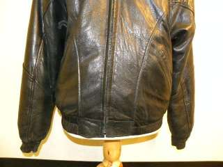 ANDREW MARC Black Leather Opossum Fur Bomber Jacket L