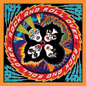 KISS rock and roll over cd/lp album cover STICKER