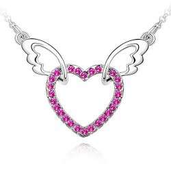 SPCN010 I Love You Angel Wings Charm Heart Austrian Crystal Wedding