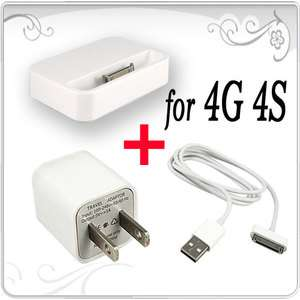 AC Wall Charger Adapter+Dock Cradle Stand+USB Cable for iPod iPhone 4