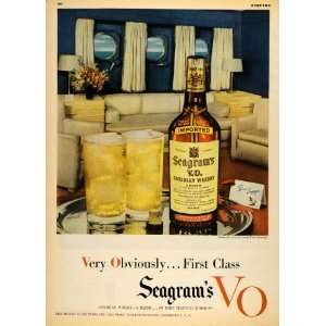 1949 Ad Seagrams VO Canadian Whisky Ship Cruise Platter