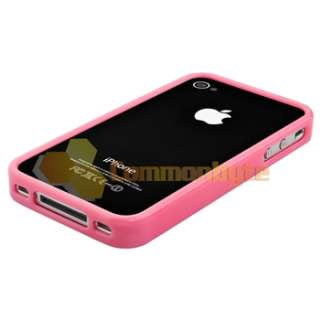 Pink Bumper Silicone Case Cover+Sticker for iPhone 4 4s 4G